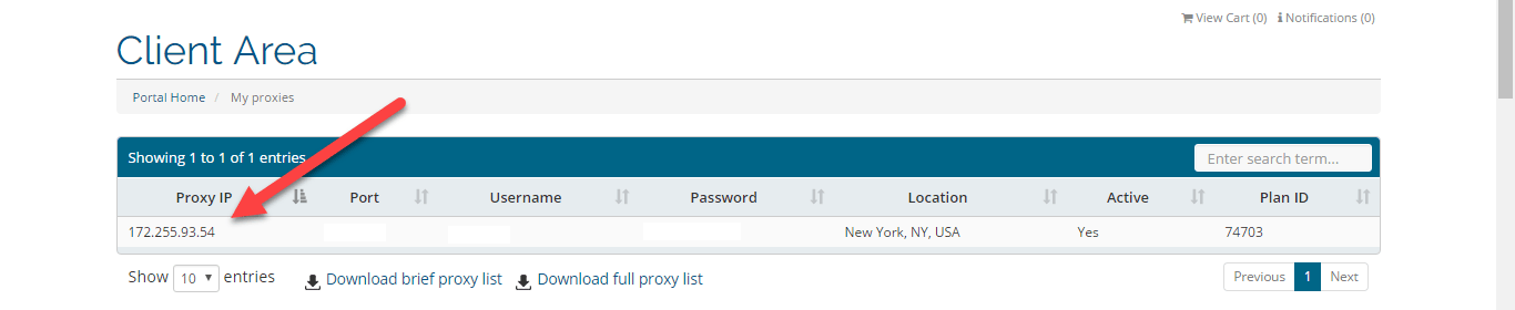 Copy your proxy IP and port to paste into Firefox network settings.